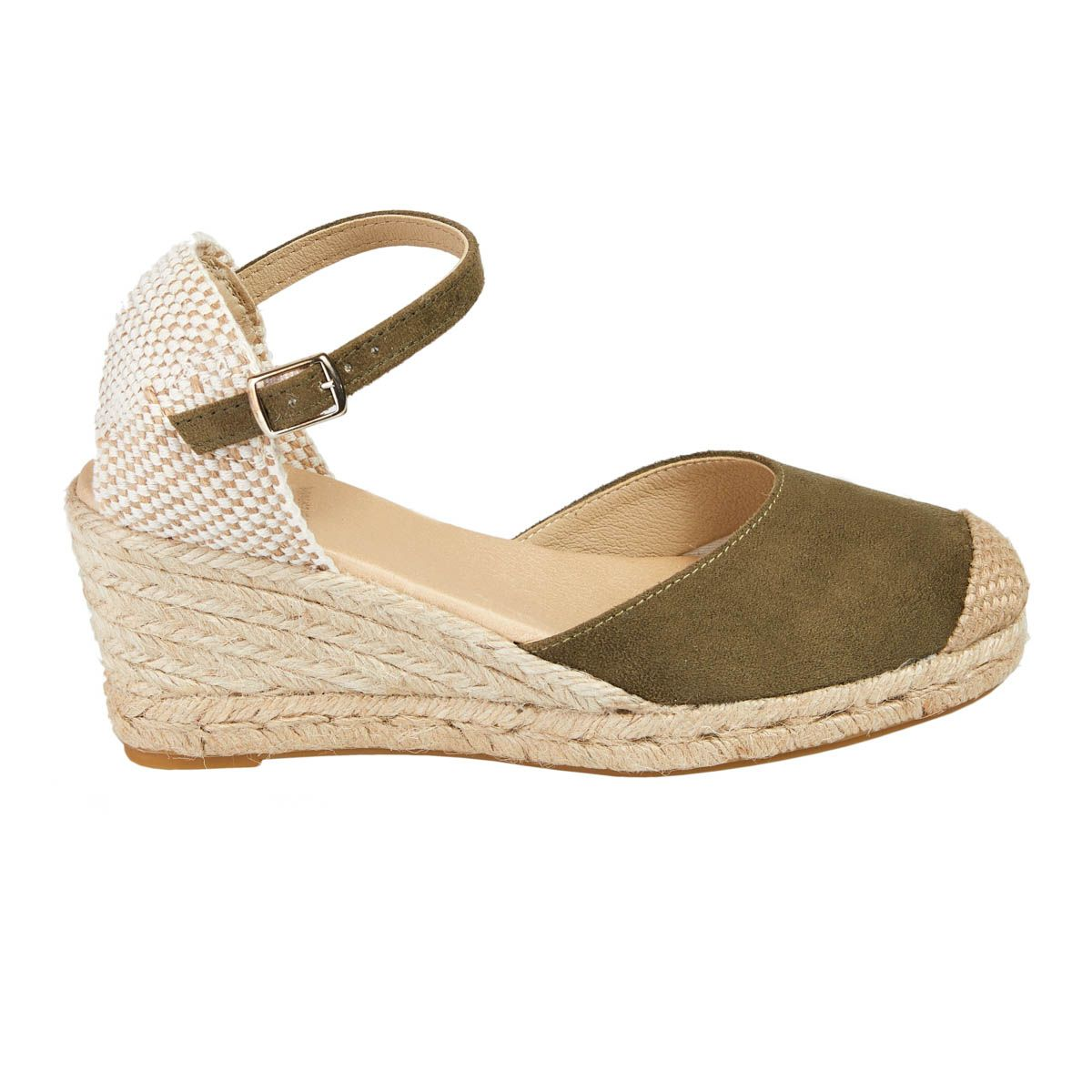 Leindia Ankle Strap Wedge Espadrille in Green