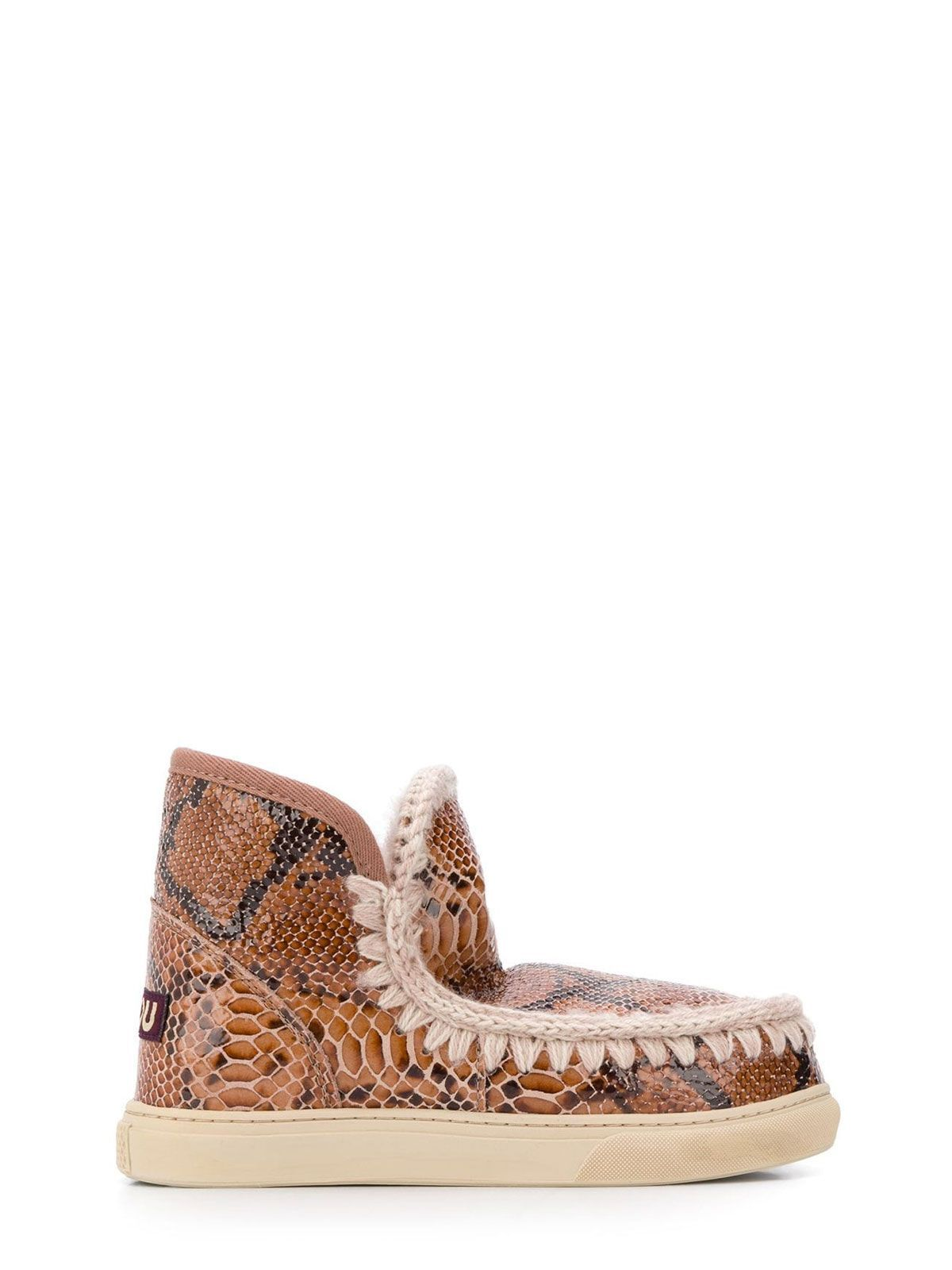 MOU WOMEN'S FW111000CSNROBE BROWN LEATHER ANKLE BOOTS