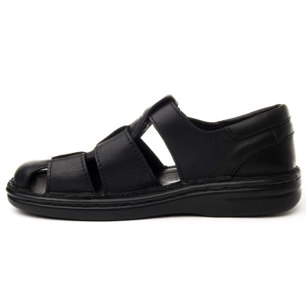 Montevita Flat Leather Sandal in Black