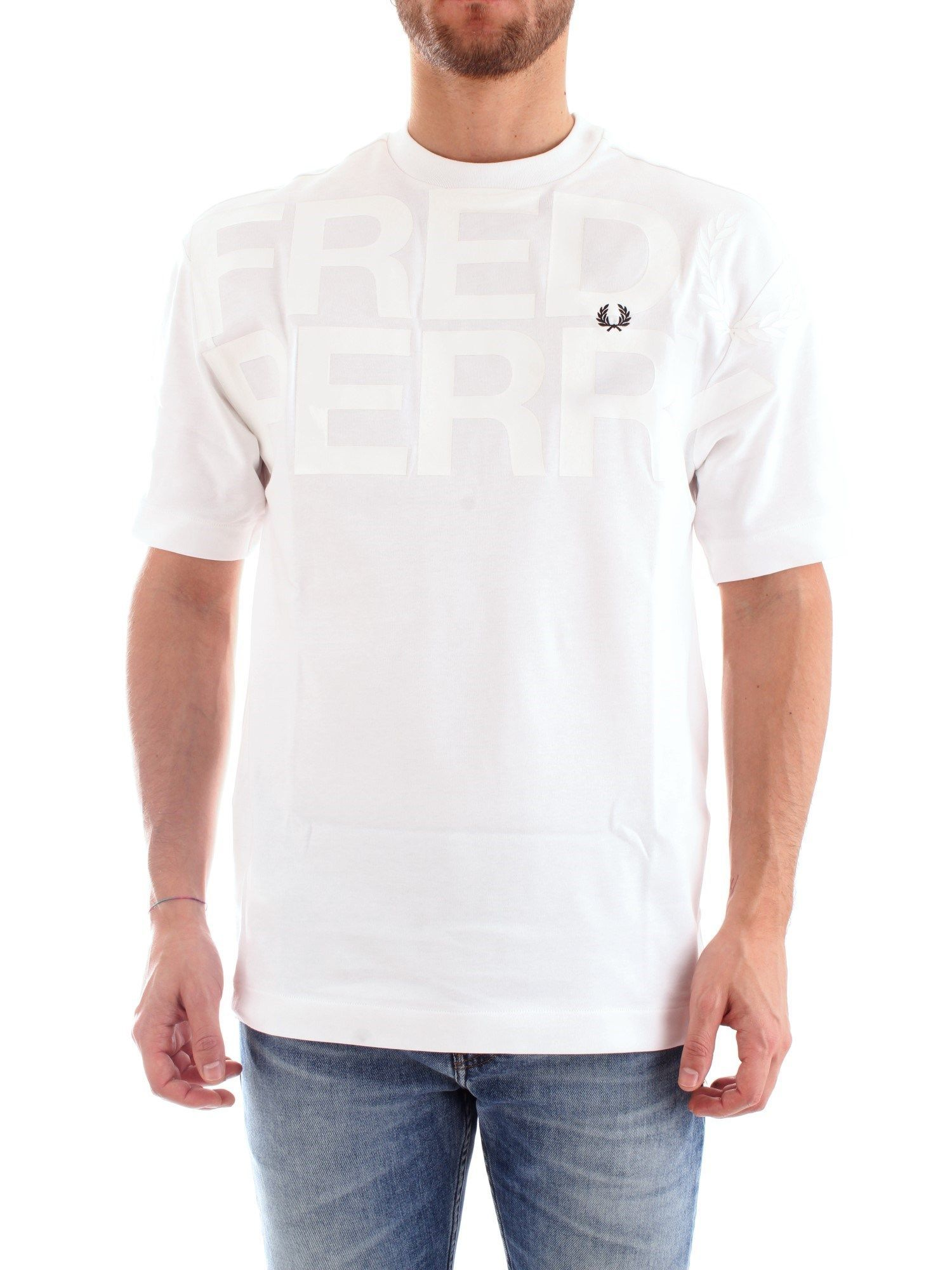 FRED PERRY MEN'S FPM651630100 WHITE COTTON T-SHIRT