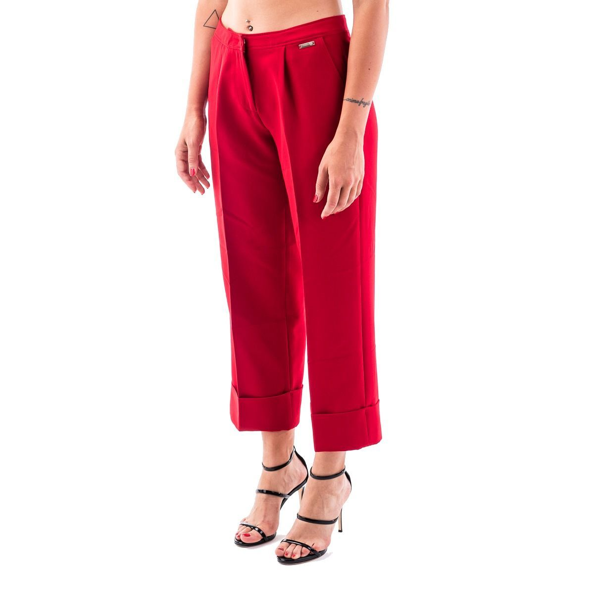 TRUSSARDI WOMEN'S 56P001591T002800R170 RED POLYESTER PANTS