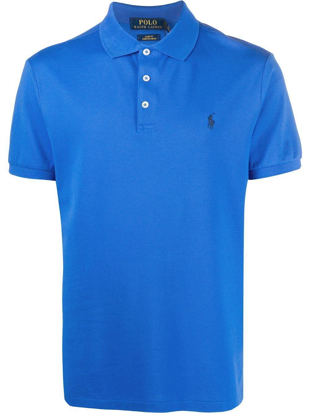RALPH LAUREN MEN'S 710541705137 BLUE COTTON POLO SHIRT