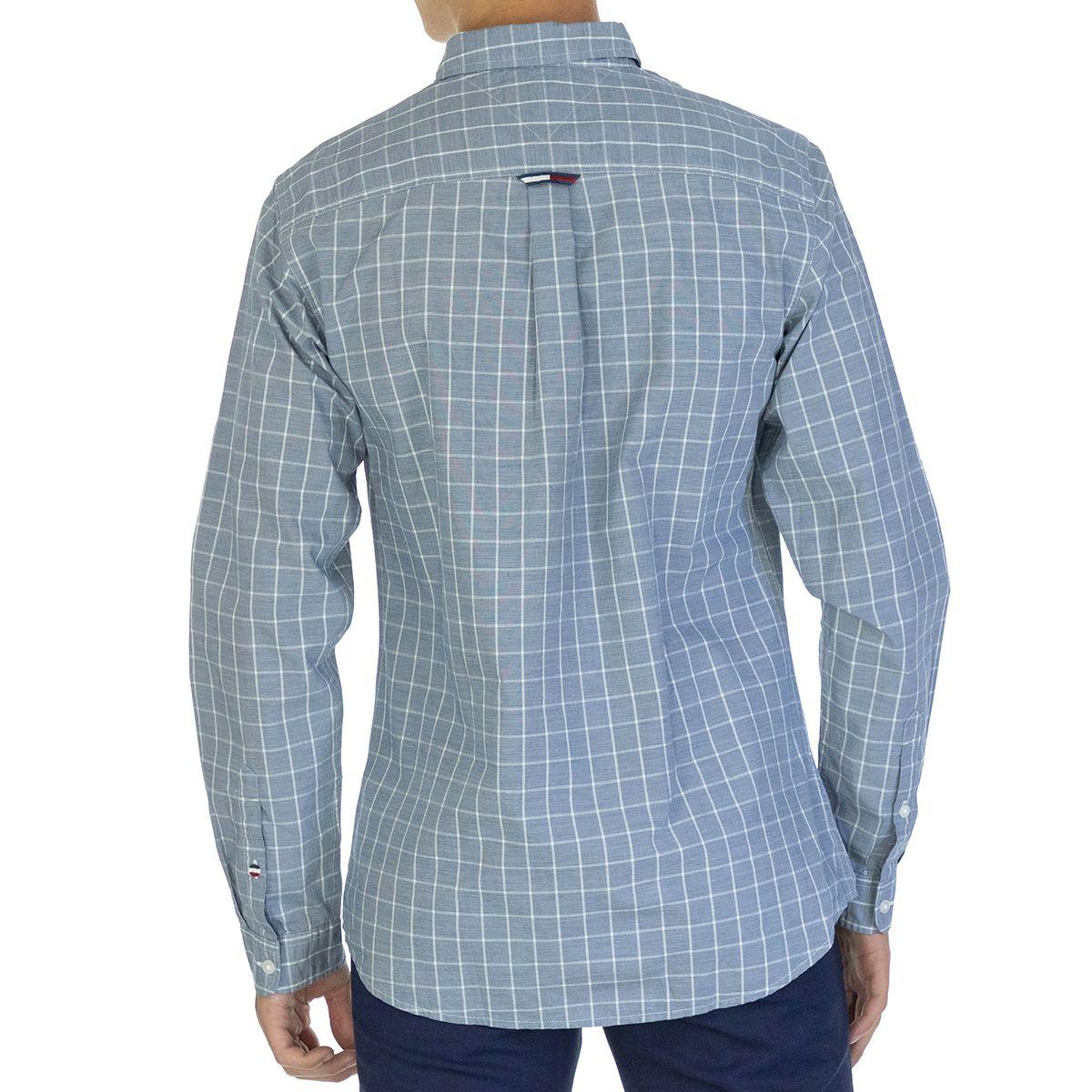 Tommy Hilfiger Men Shirt Windowpane   Full sleeve Blue