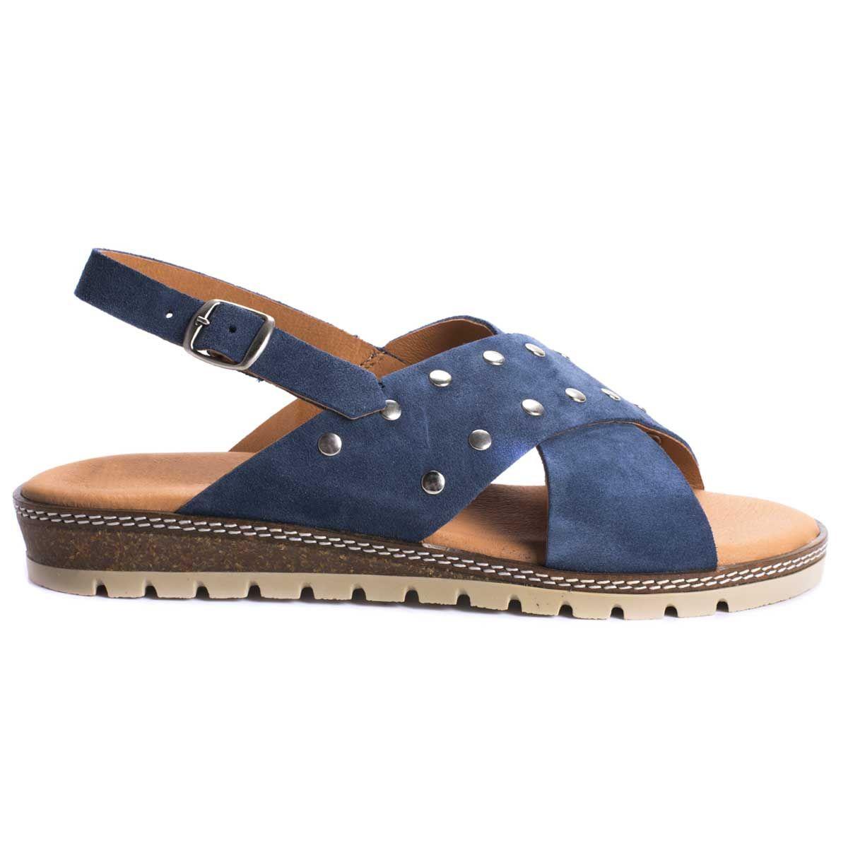 Purapiel Cross Strap Flat Sandal in Blue