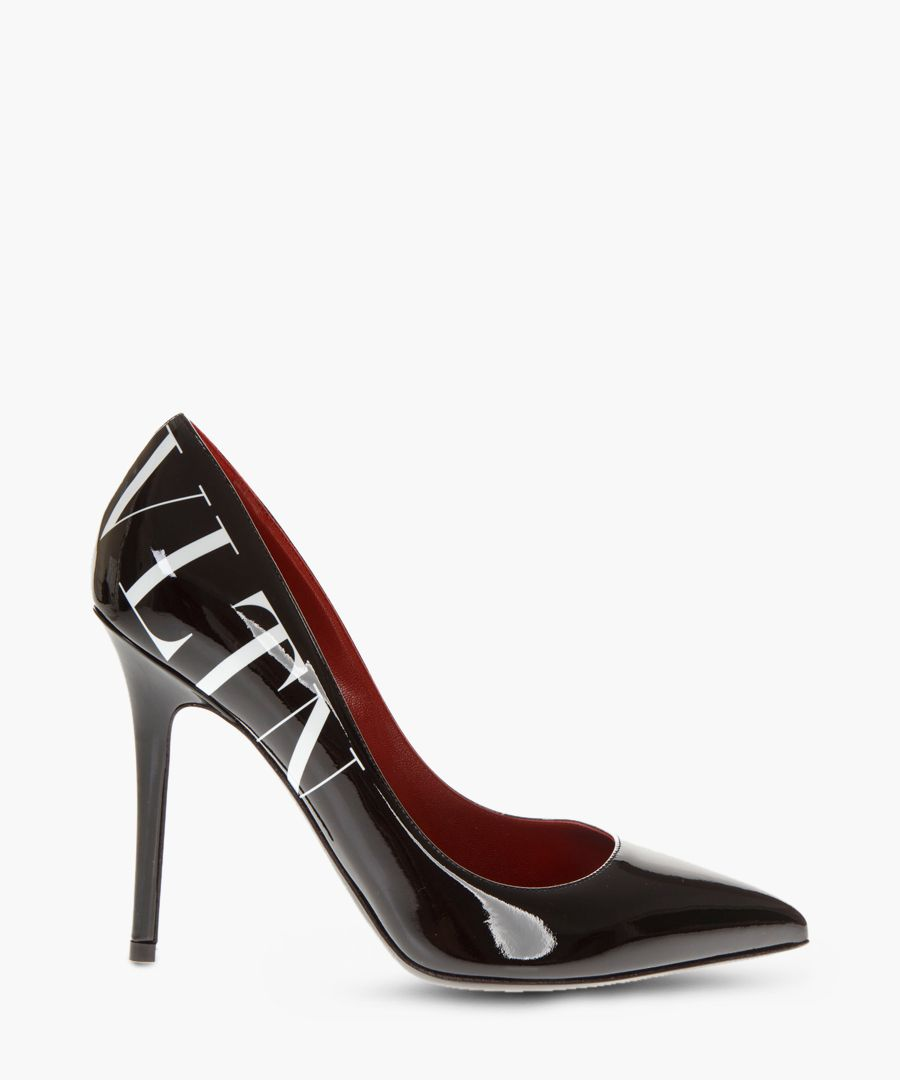 VLTN black leather logo pumps