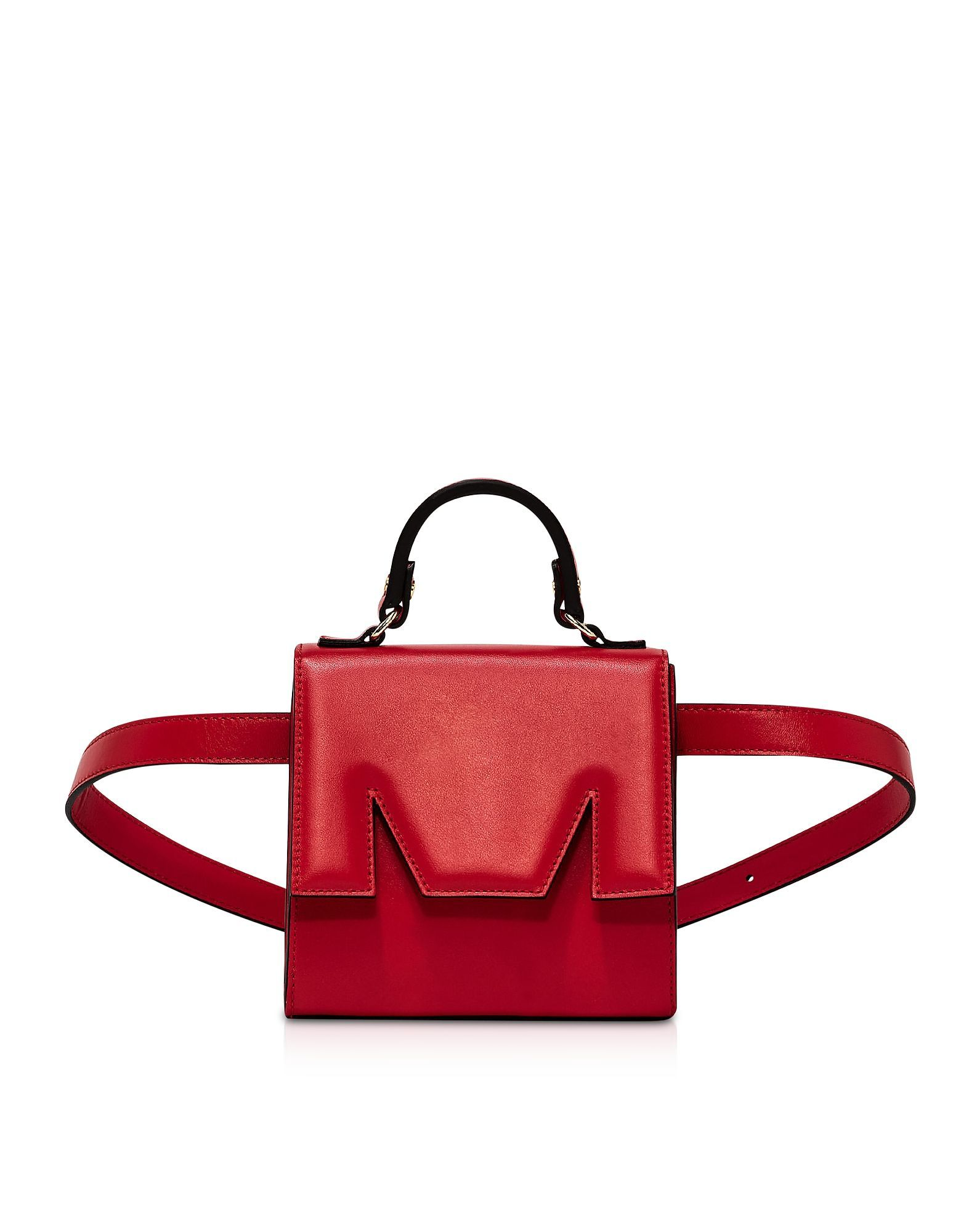 MSGM WOMEN'S 2741MDZ41050018 RED LEATHER BELT BAG