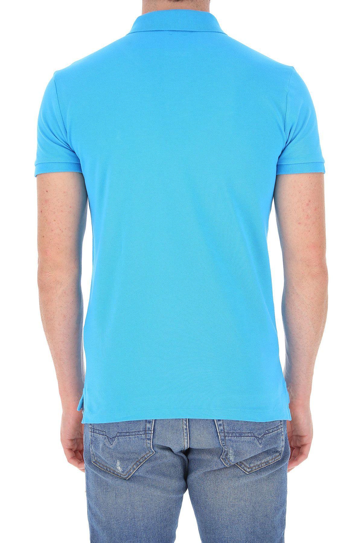 RALPH LAUREN MEN'S 710795080023 LIGHT BLUE COTTON POLO SHIRT