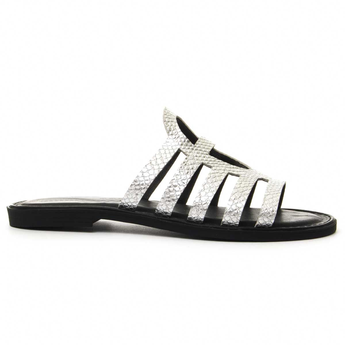 Leindia Strappy Flat Sandal in Silver