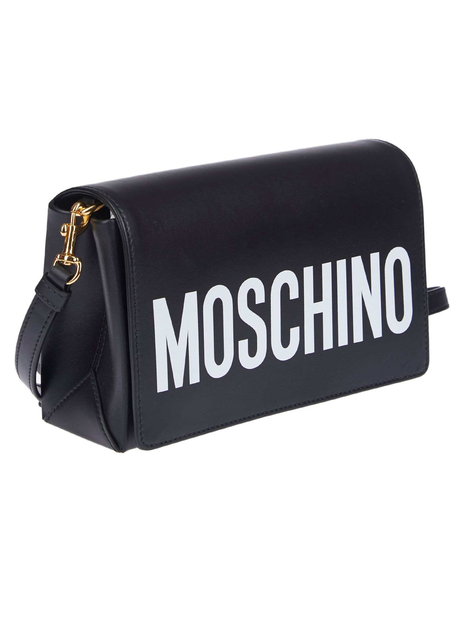 MOSCHINO WOMEN'S A742380011555 BLACK LEATHER SHOULDER BAG