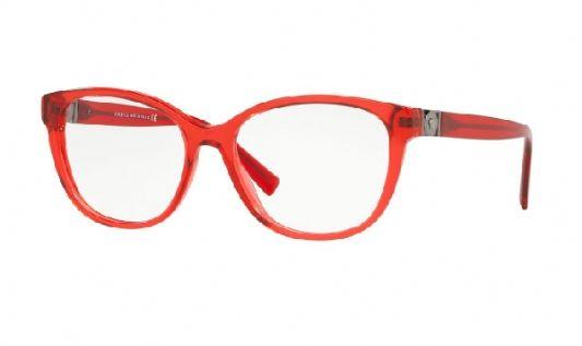 Versace Rectangular plastic Women Eyeglasses Transparent Red/Clear demo lens