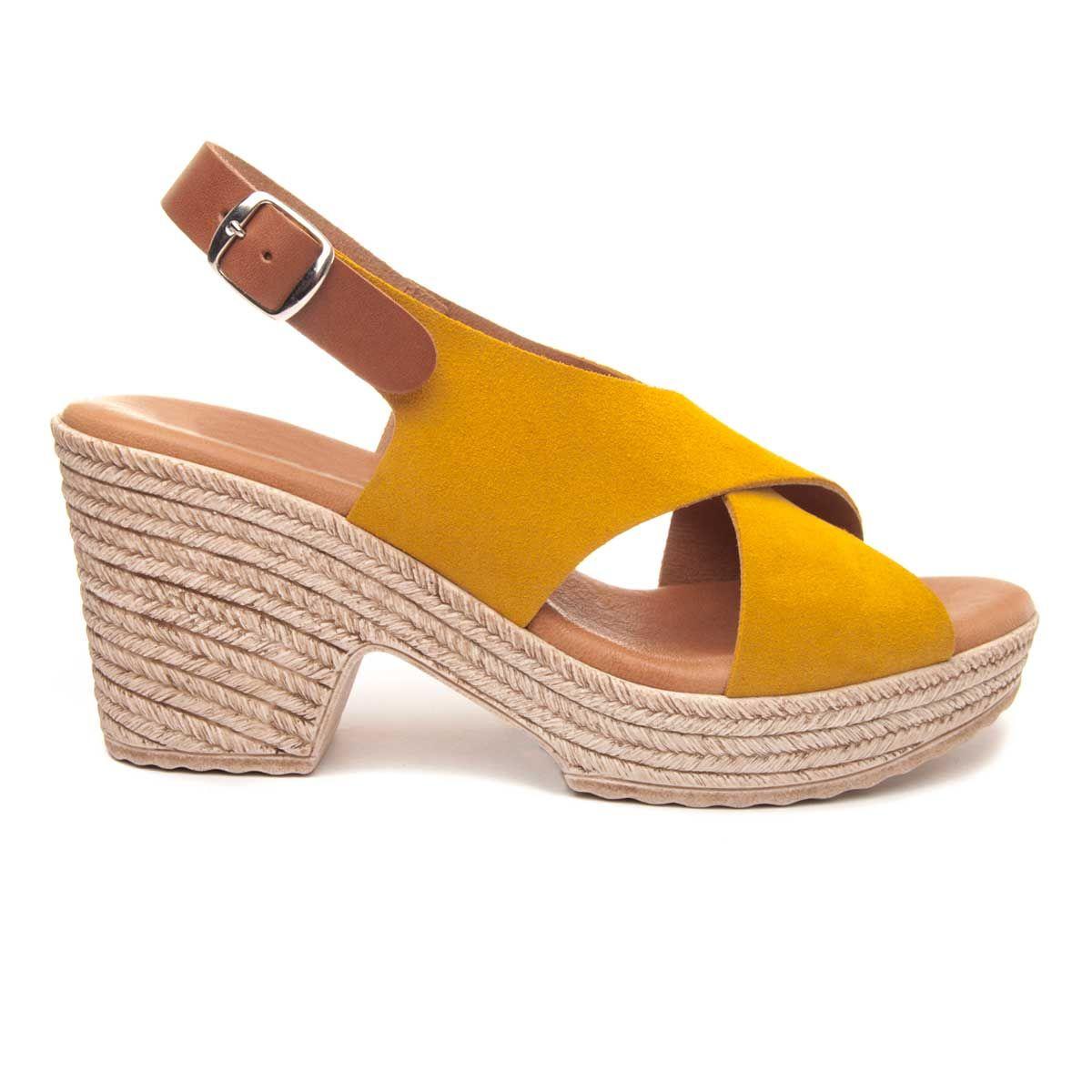 Purapiel Platform Sandal in Mustard
