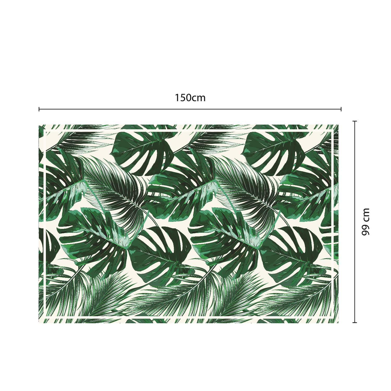Green Tropical Leafs Mat 150 x 99 cm Floor Mats, Floor Rugs