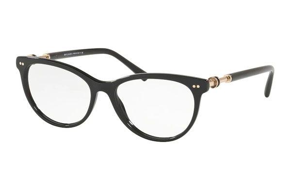 Bvlgari Cat eye plastic Unisex Eyeglasses Black / Clear Lens