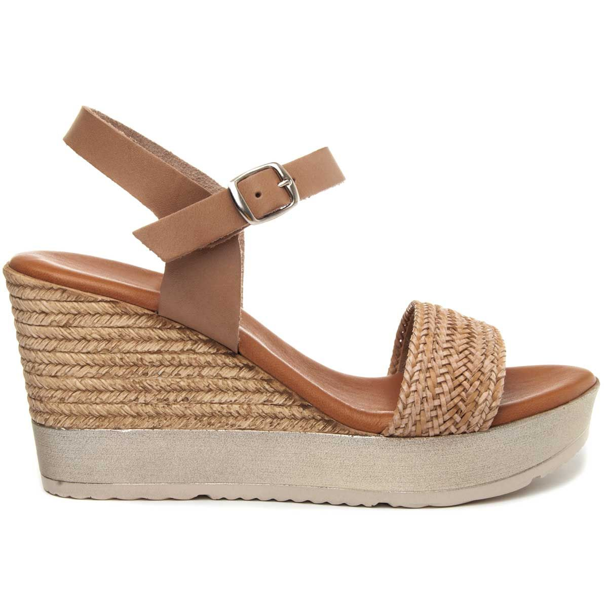 Purapiel Wedge Sandal in Beige
