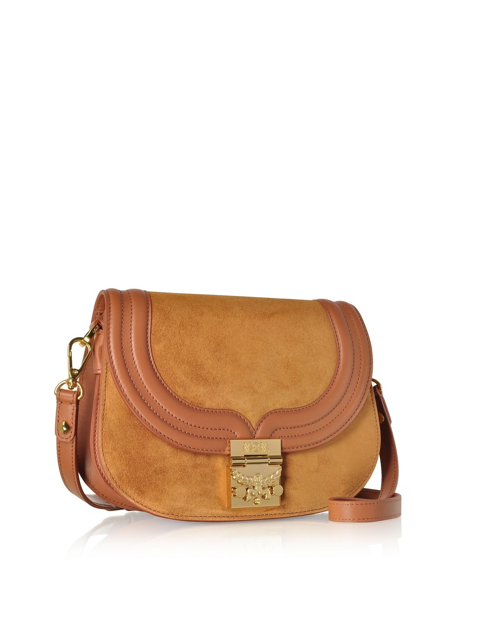 MCM WOMEN'S MWS8STS94CO001 BROWN LEATHER SHOULDER BAG