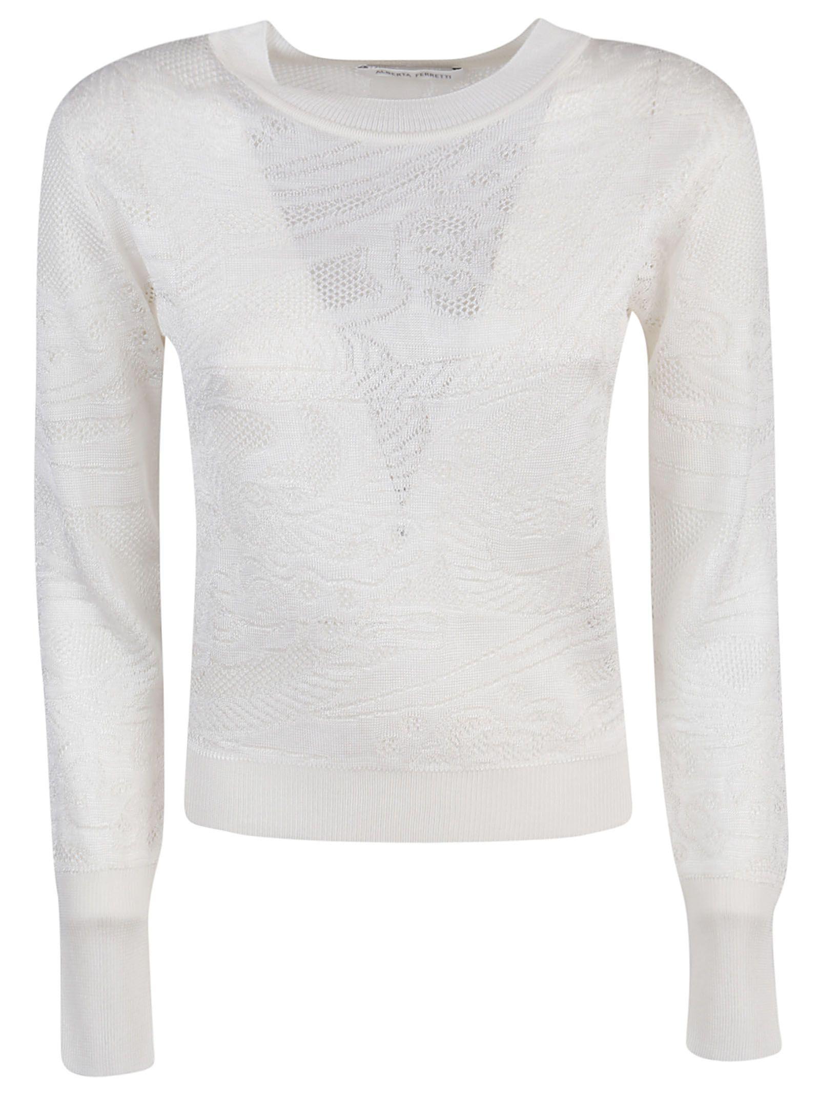 ALBERTA FERRETTI WOMEN'S A091916040001 WHITE VISCOSE SWEATER
