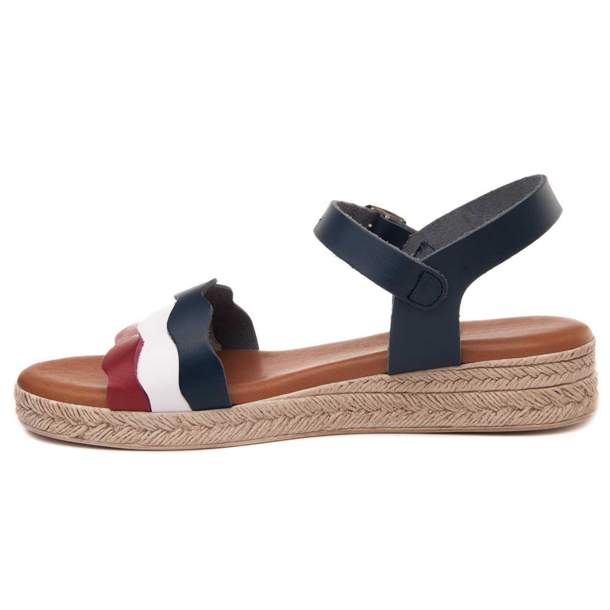 Purapiel Strappy Flat Sandal in Blue