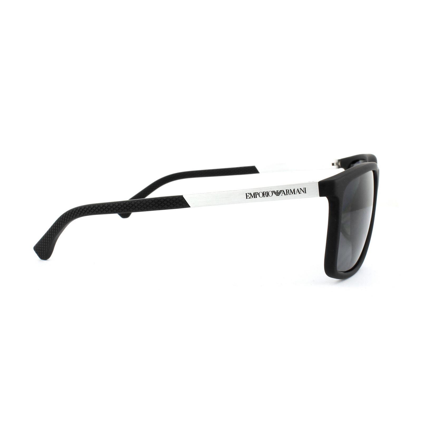 Emporio Armani Sunglasses 4058 5063/81 Black Rubber Grey Polarized