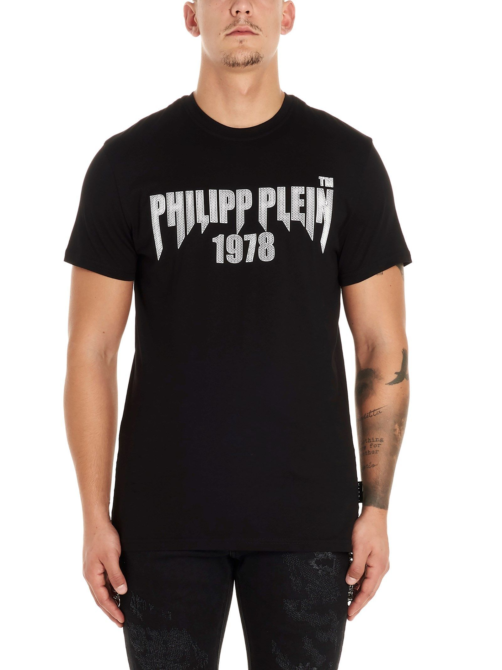 PHILIPP PLEIN MEN'S MTK4260PJY002N0201 BLACK COTTON T-SHIRT