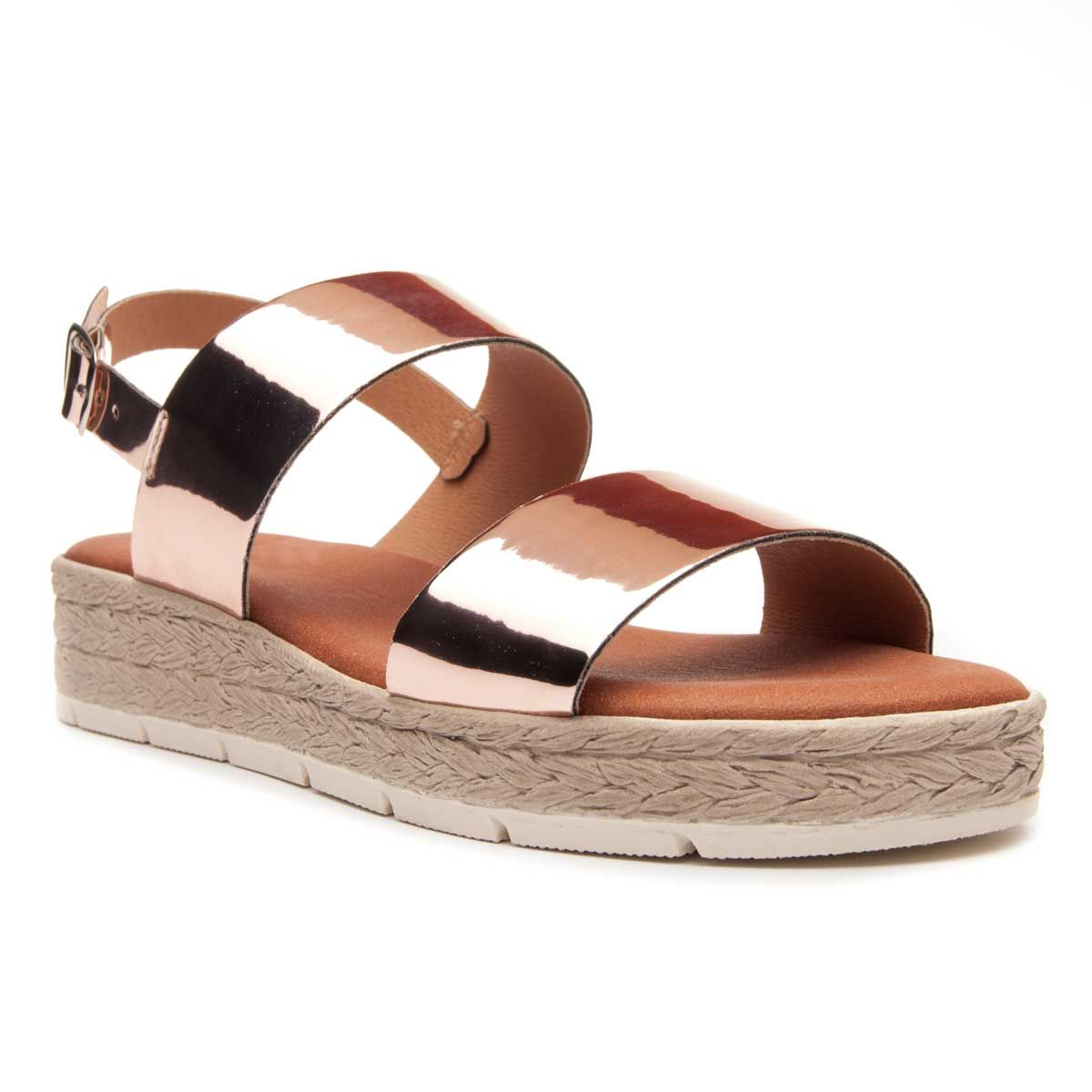 Leindia Double Strap Flat Sandal in Nude