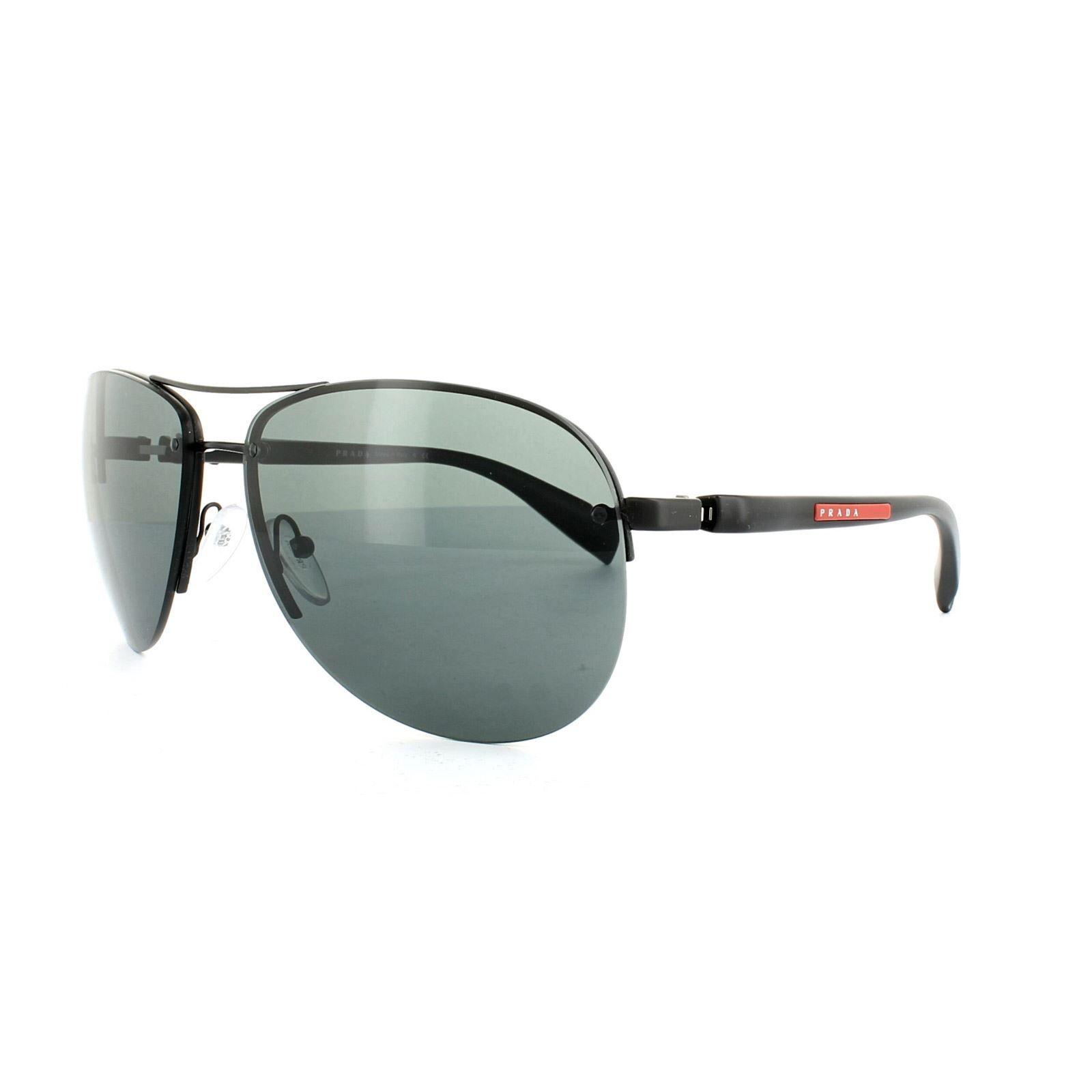 Prada Sport Sunglasses 56MS 1BO1A1 Semi-Shiny Black Grey