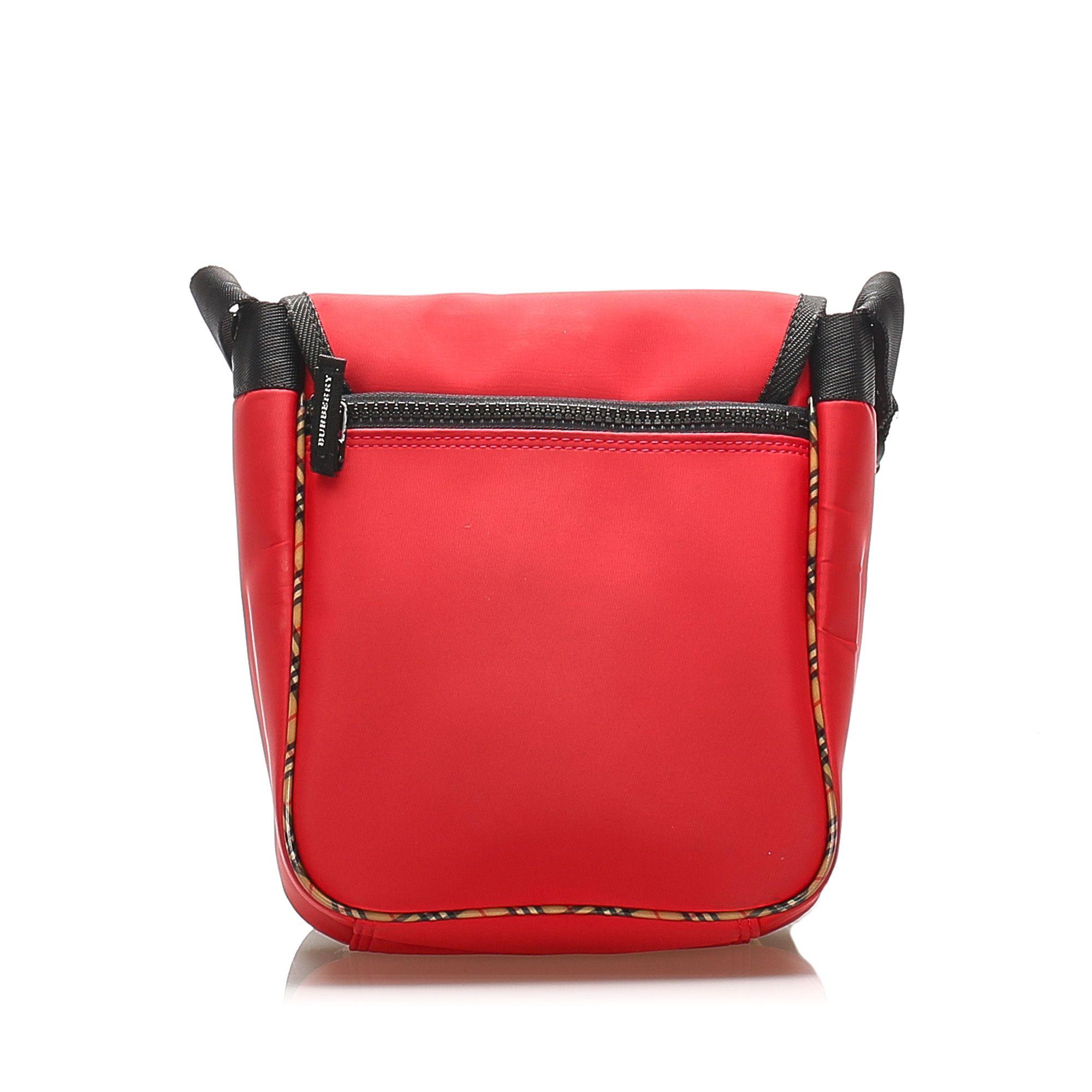 Vintage Burberry Nova Check Leather Crossbody Bag Red