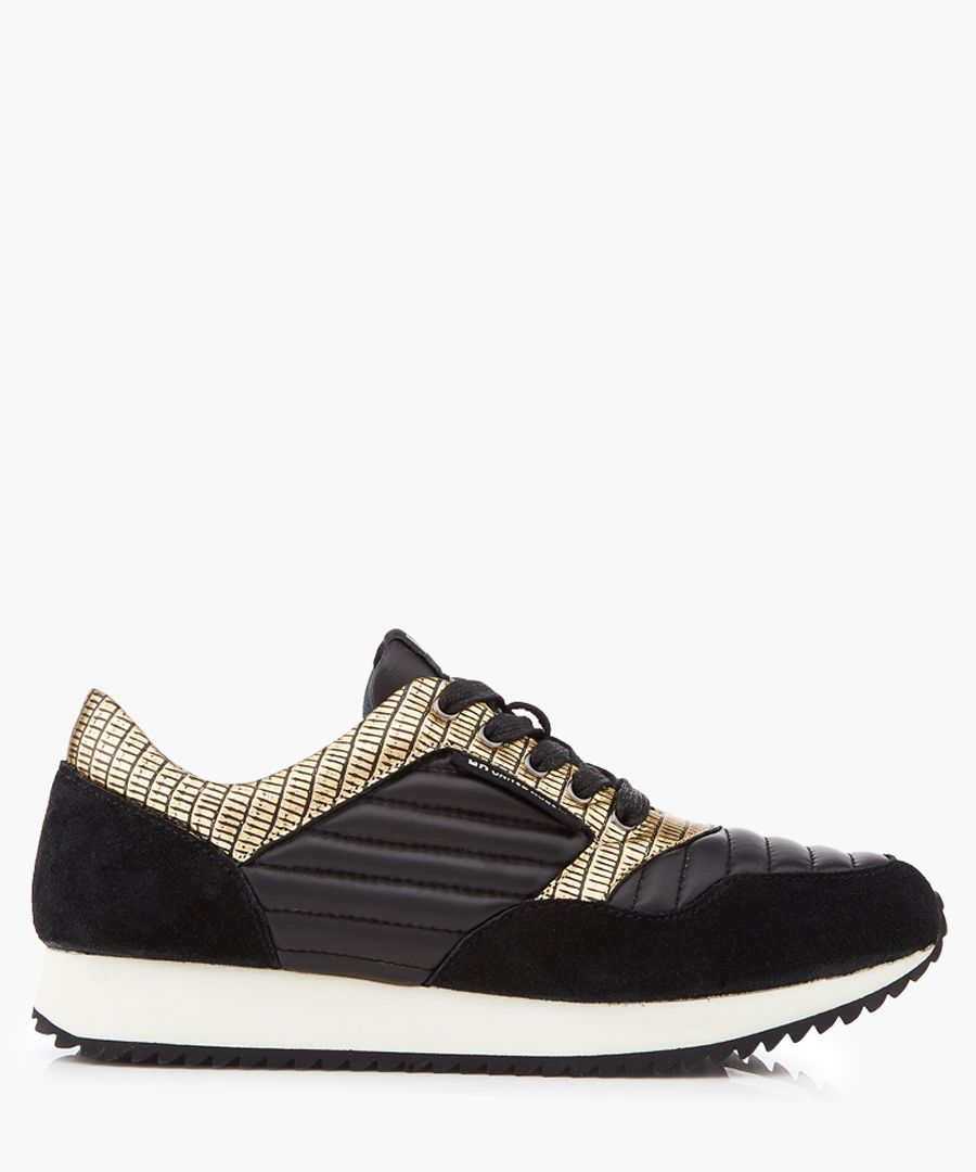 Runner black & gold-tone panel sneakers