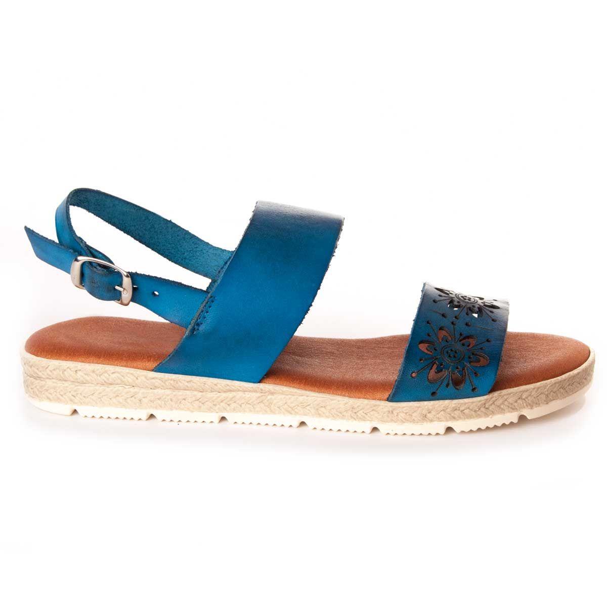 Montevita Double Strap Flat Sandal in Blue