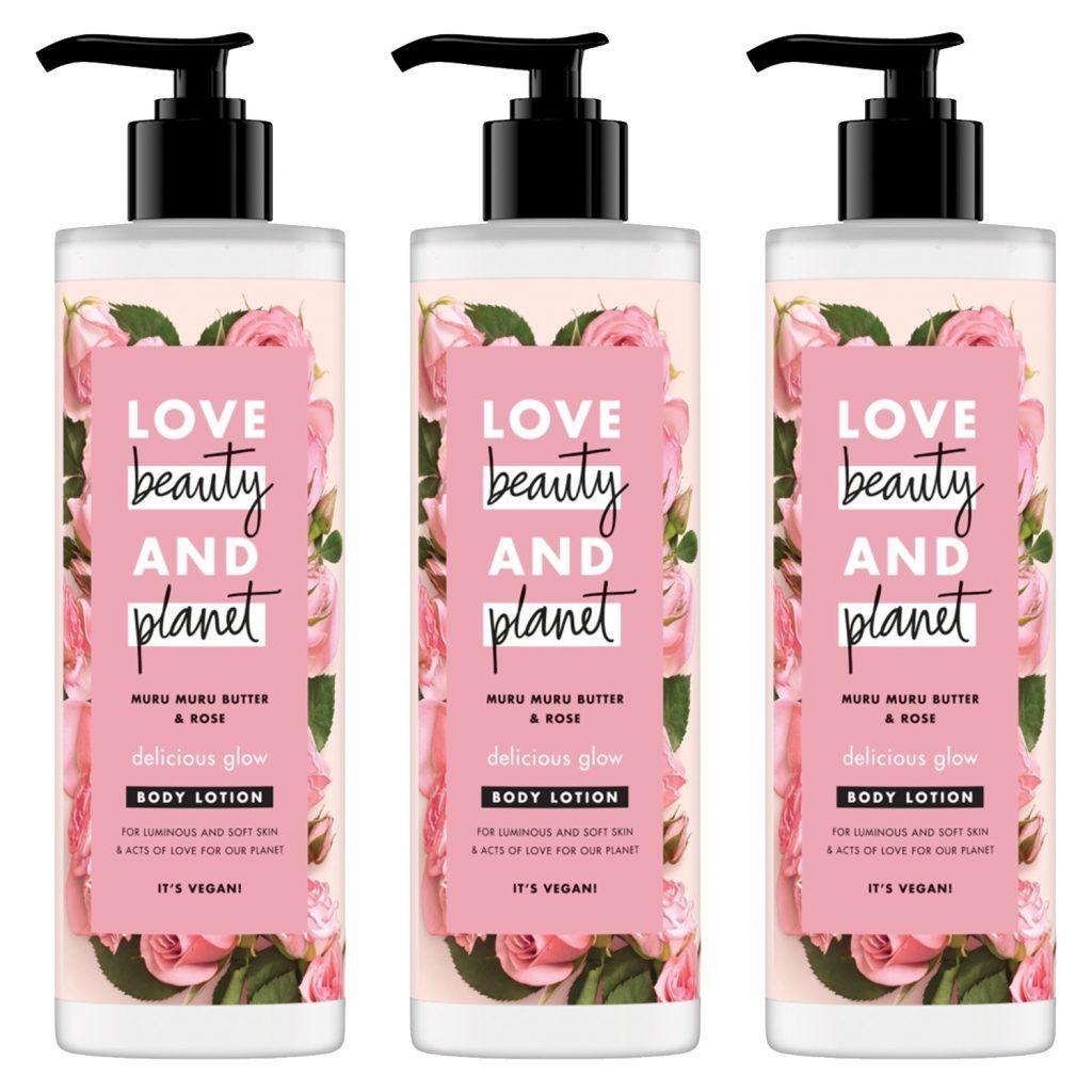 Love Beauty & Planet Delicious Glow Muru Muru Butter & Rose Body Lotion 400ml (Pack of 3)