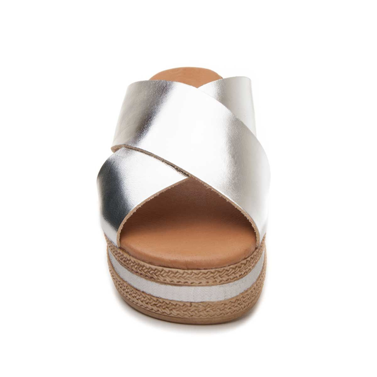 Purapiel Cross Strap Chunky Sandal in Silver