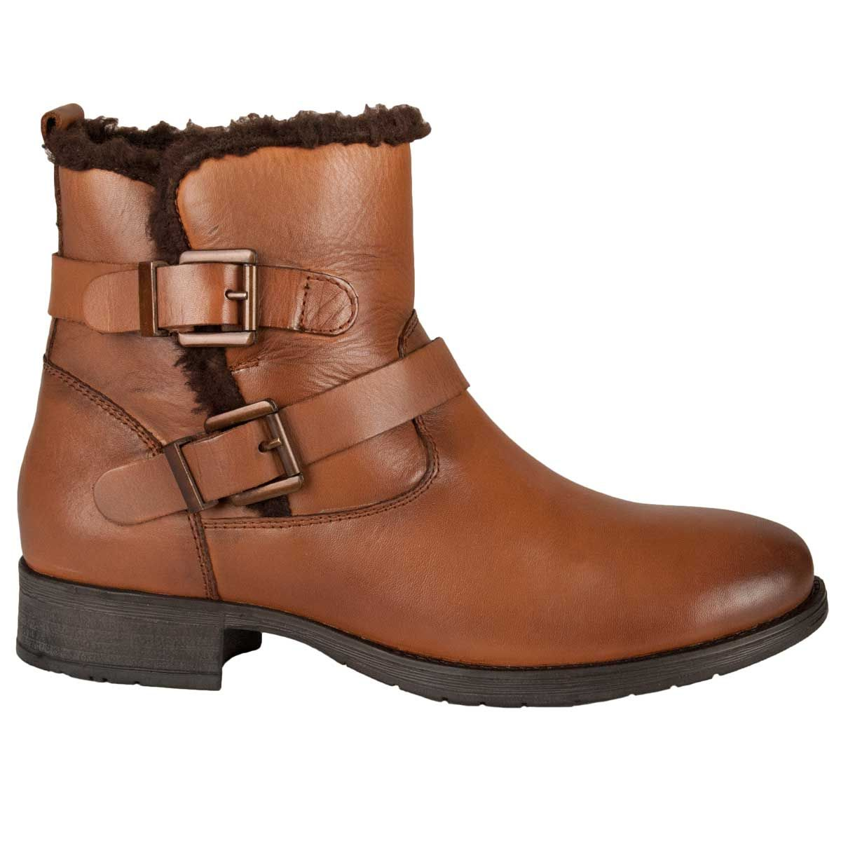Purapiel Buckle Ankle Boot in Camel