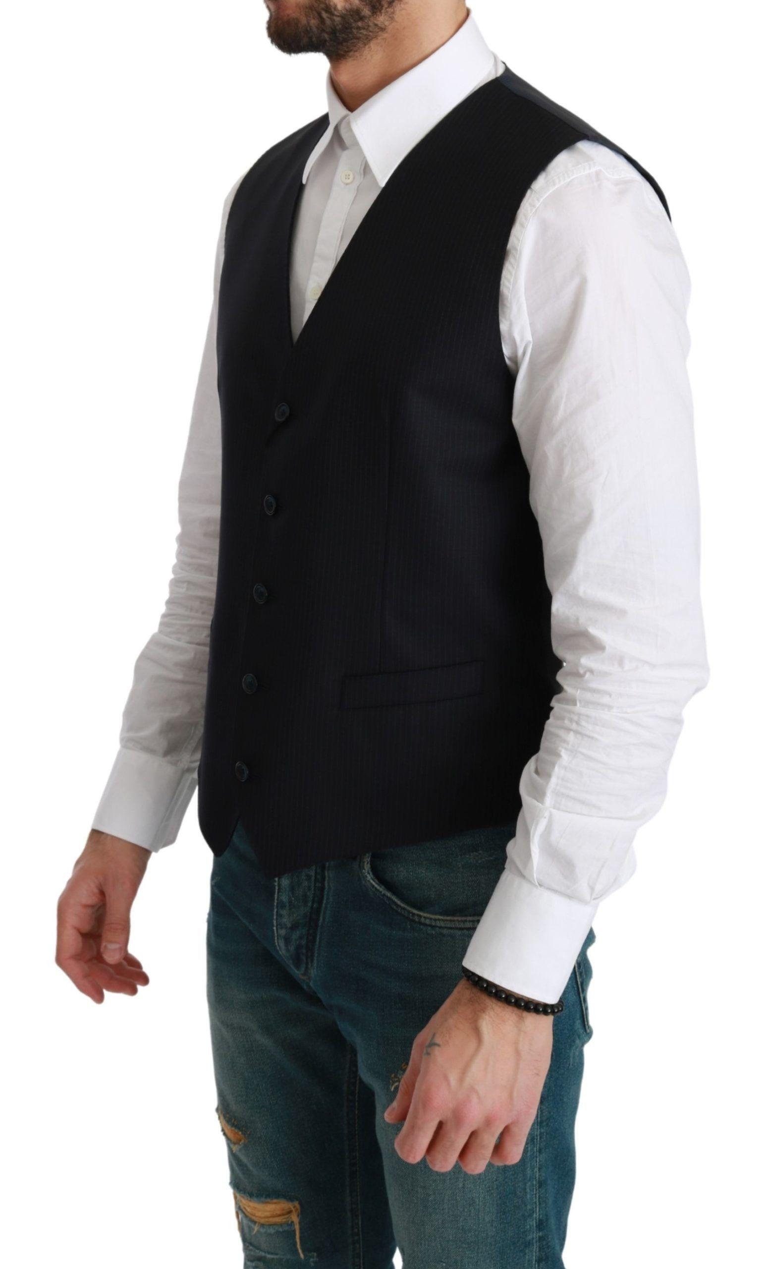 Dolce & Gabbana Blue Waistcoat Formal Stretch Wool Vest