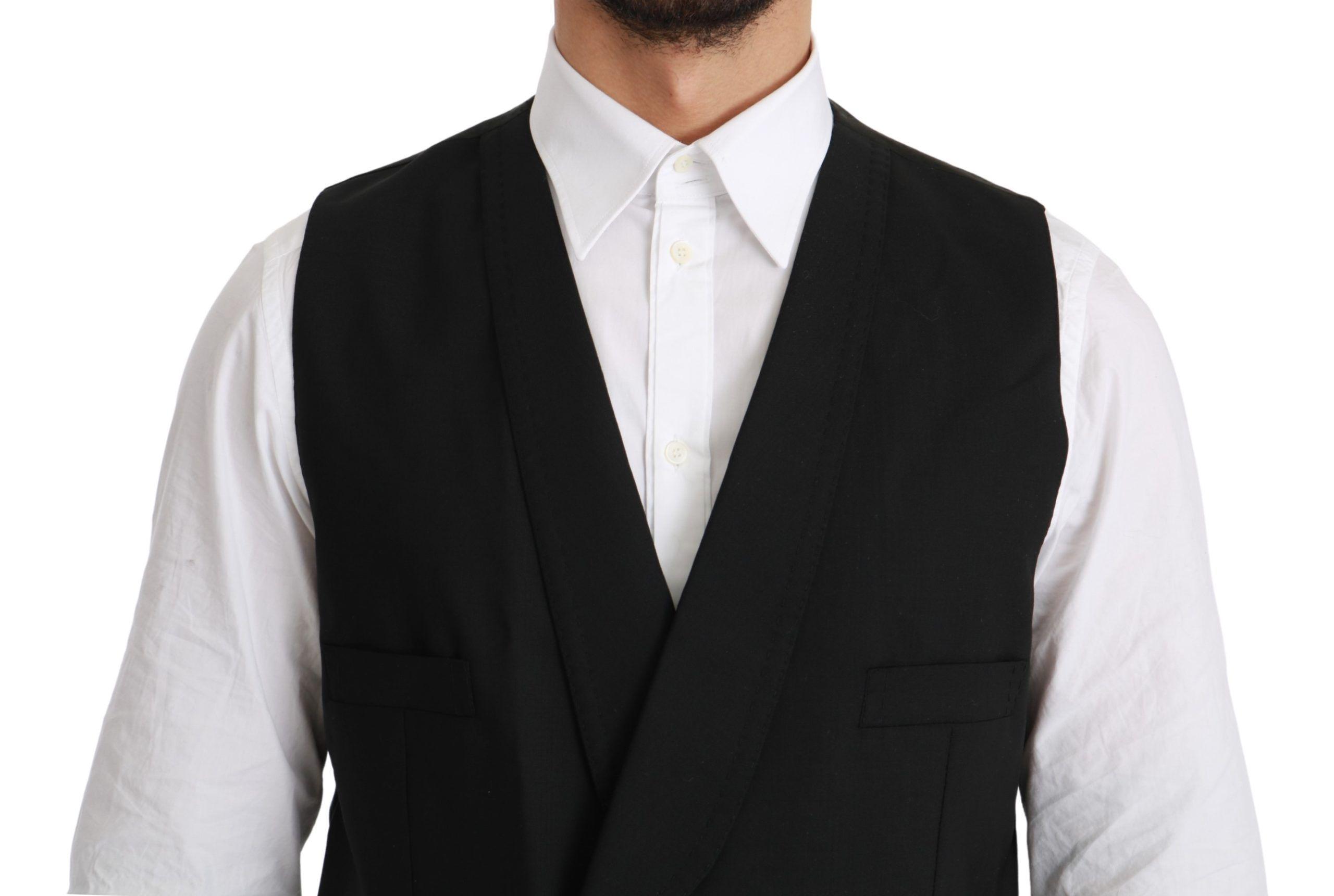 Dolce & Gabbana Black Waistcoat Formal Double Breasted Vest