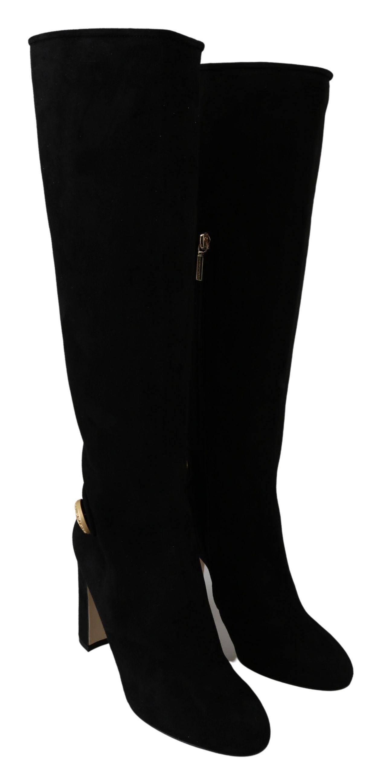 Dolce & Gabbana Black Suede Gold DG Logo Knee Boots Shoes