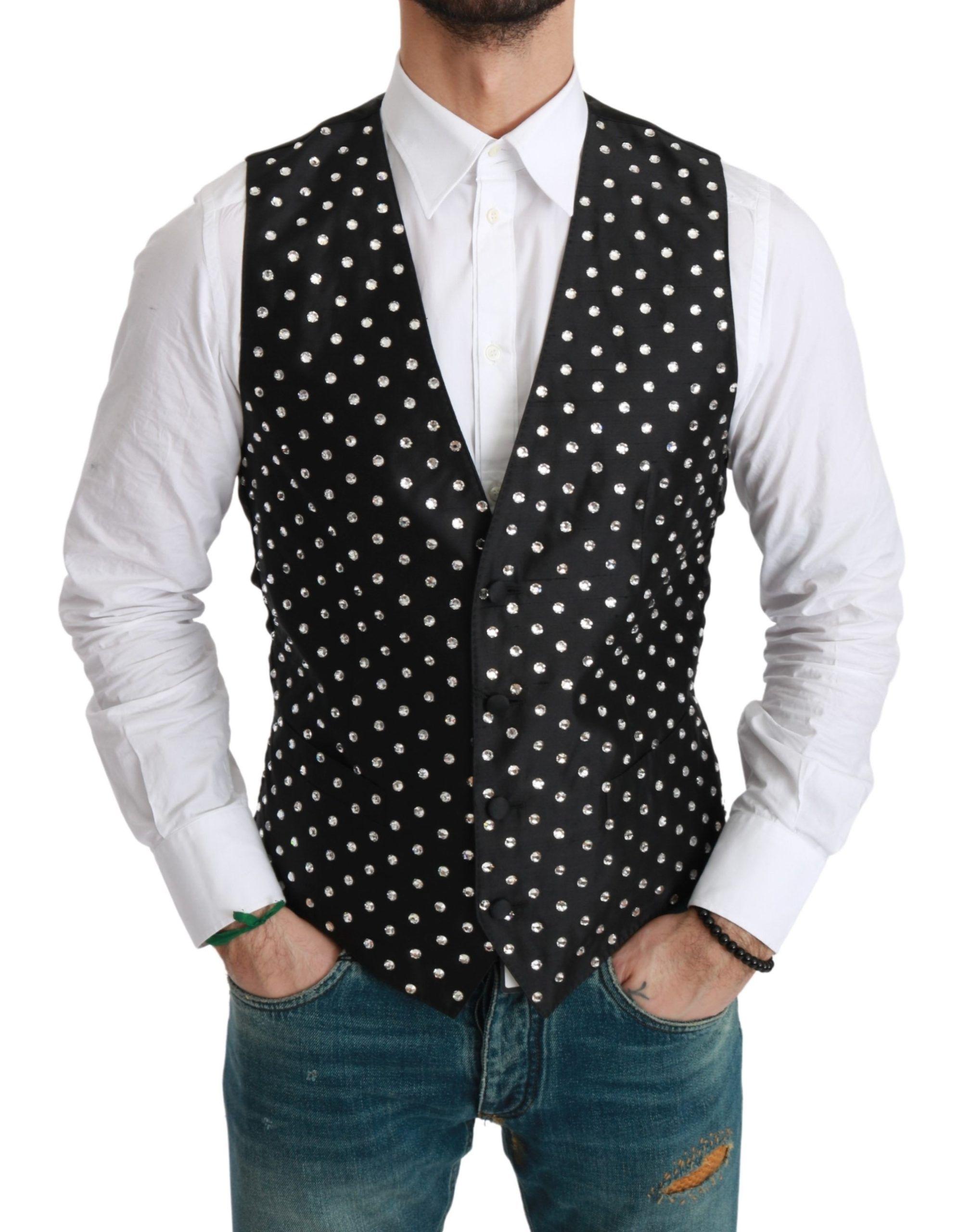 Dolce & Gabbana Black Crystal Waistcoat Formal Silk Vest