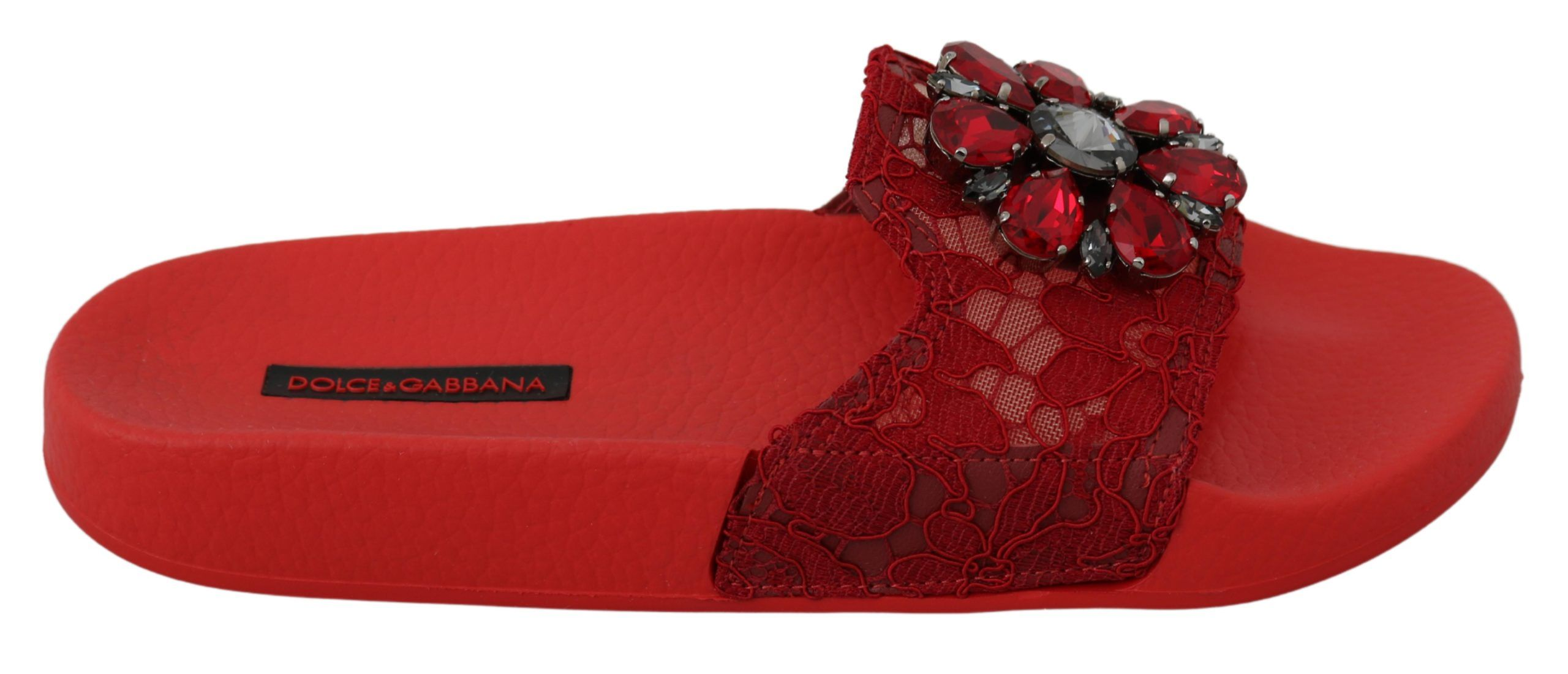 Dolce & Gabbana Red Lace Crystal Sandals Slides Beach Shoes
