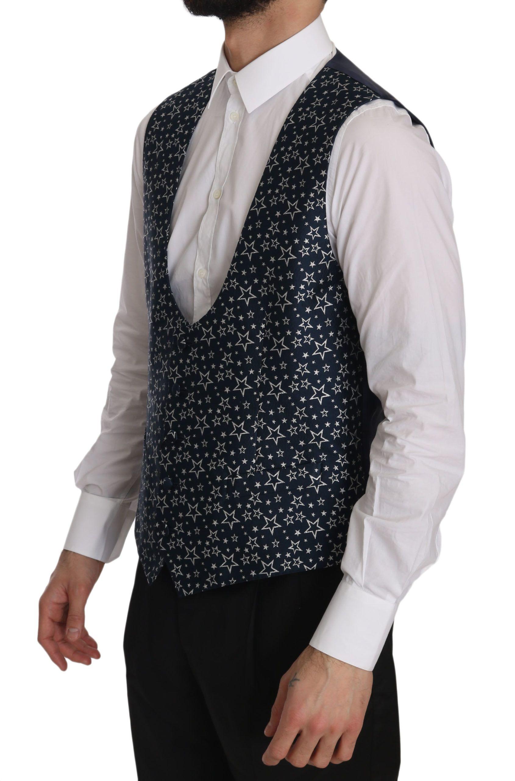 Dolce & Gabbana Star Patterned Slim Fit Formal Vest