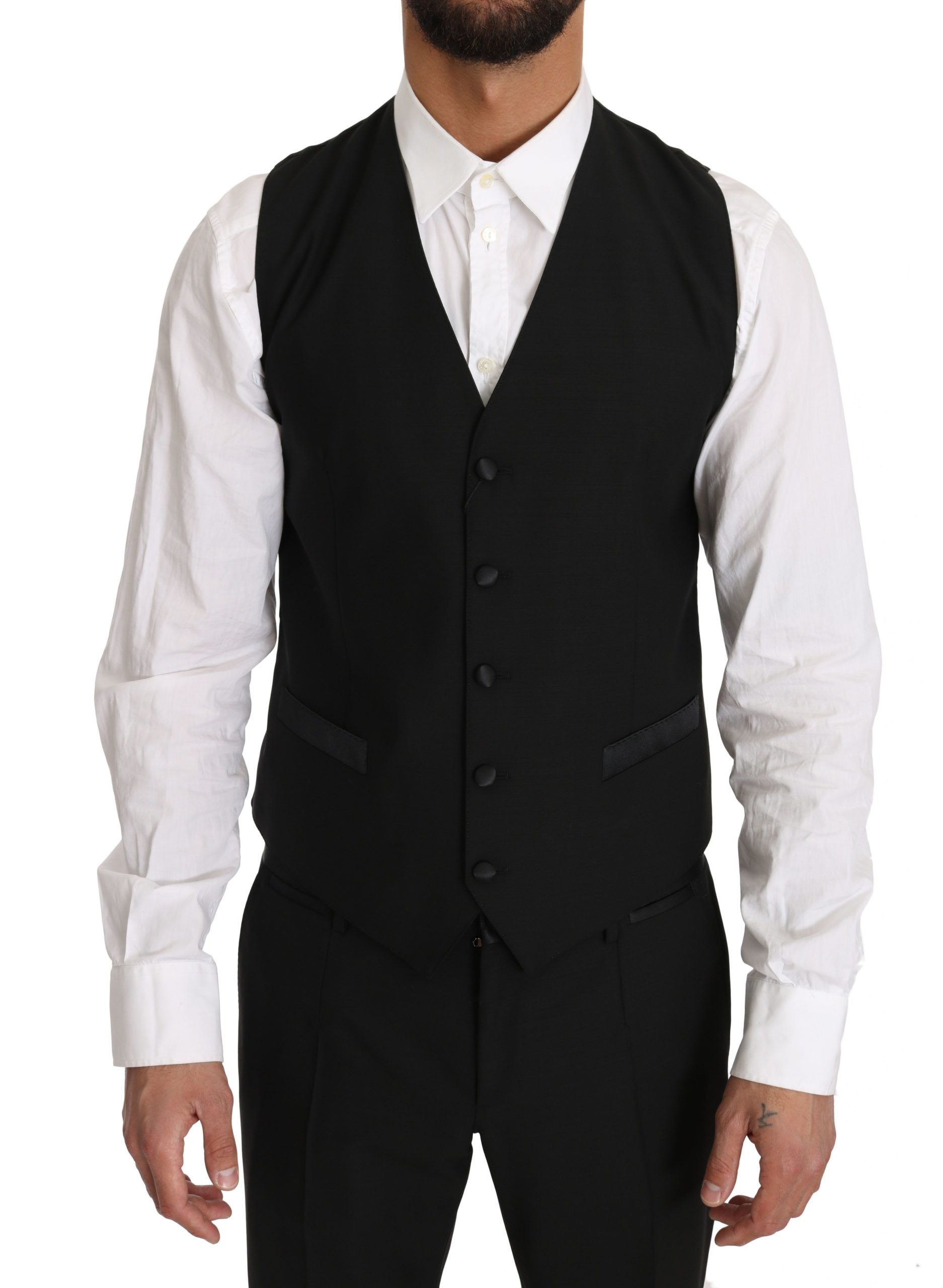 Dolce & Gabbana Black Wool Dress Waistcoat Gillet Vest