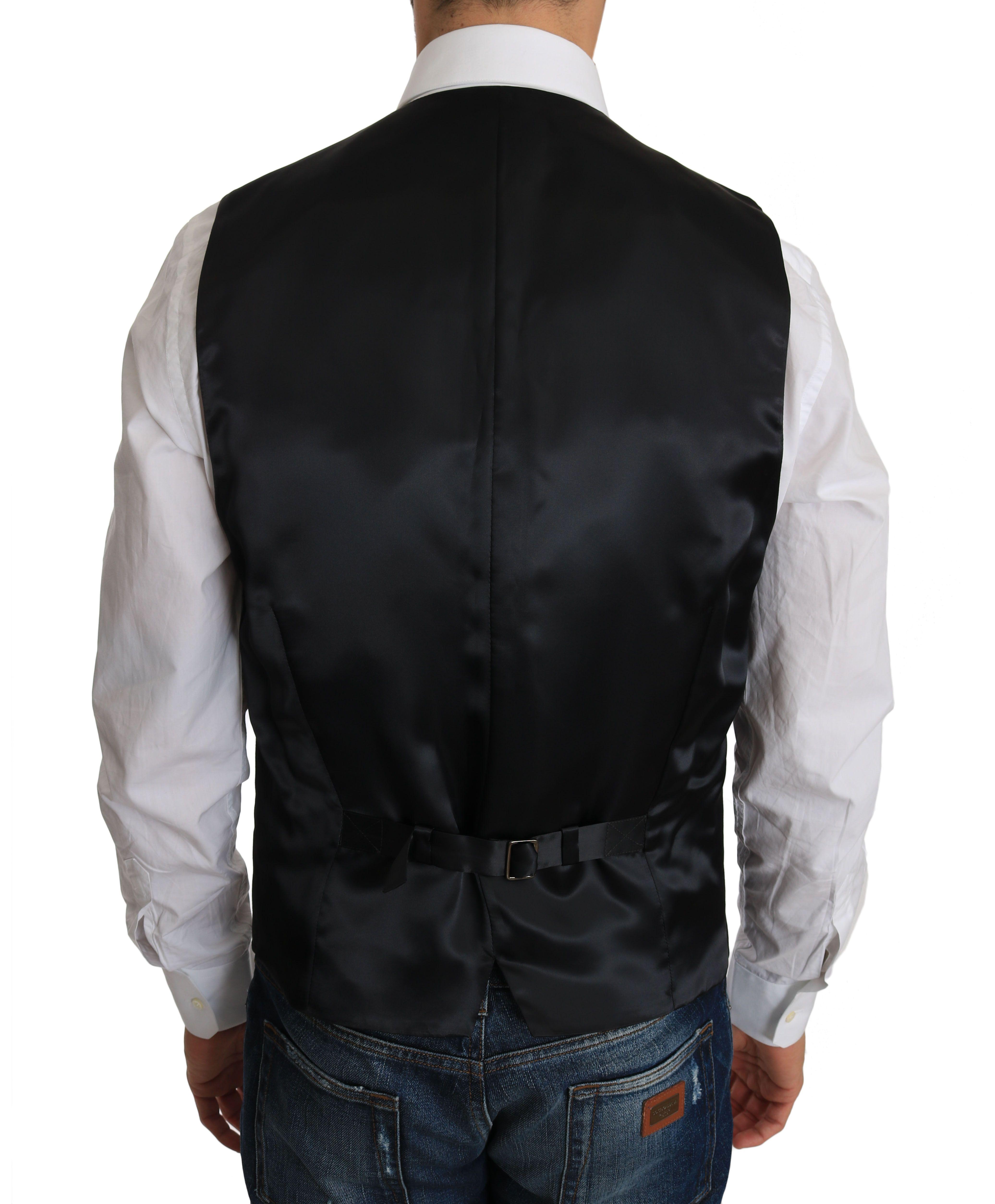 Dolce & Gabbana Gray Wool Dress Stretch Vest