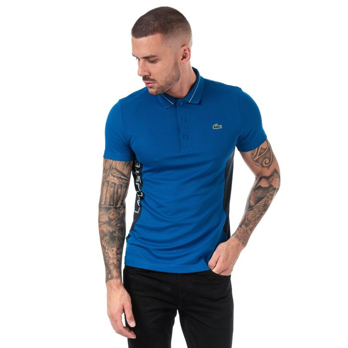 Men's Lacoste Lettering And Panels Knit Golf Polo in blue navy