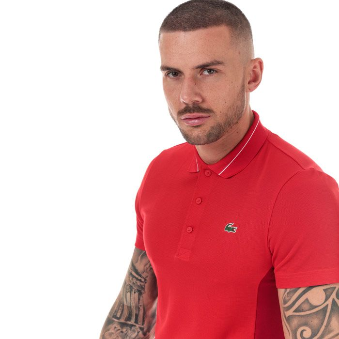 Men's Lacoste Lettering And Panels Knit Golf Polo in Red