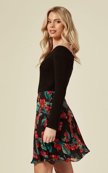 Off The Shoulder Cherry Print Mini Dress