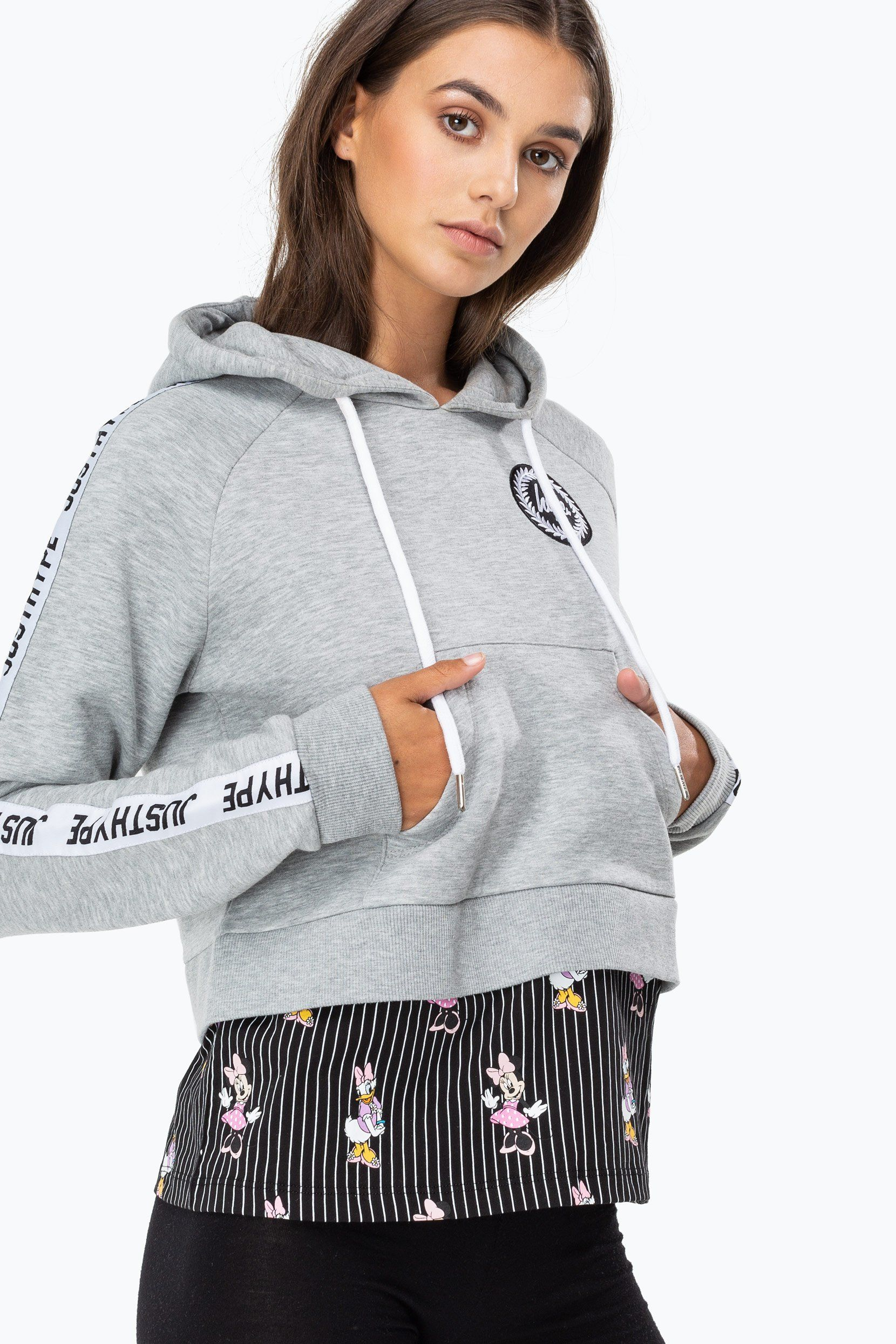 Hype Disney Grey Girl Squad Stripe Womens Pullover Hoodie