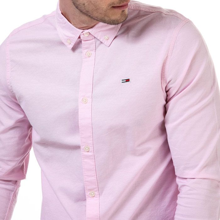 Tommy Hilfiger Men's Stretch Cotton Slim Fit Shirt in Pink