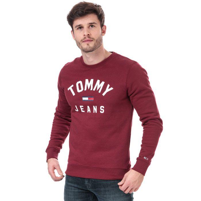 Tommy Hilfiger Men's Essential Flag Sweatshirt in Burgundy