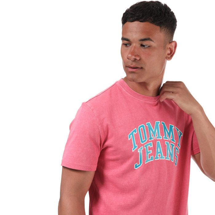 Tommy Hilfiger Men's Varsity Logo T-Shirt in Pink