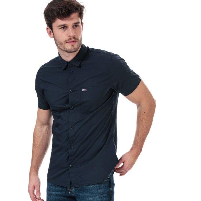Men's Tommy Hilfiger Poplin Short Sleeve Shirt in Navy