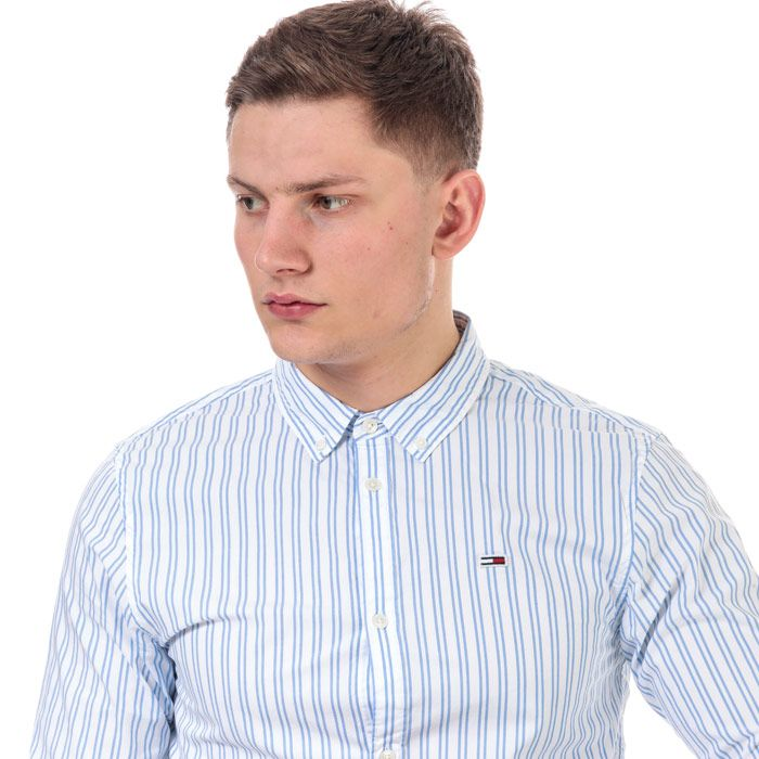 Men's Tommy Hilfiger Stripe Stretch Poplin Shirt in White