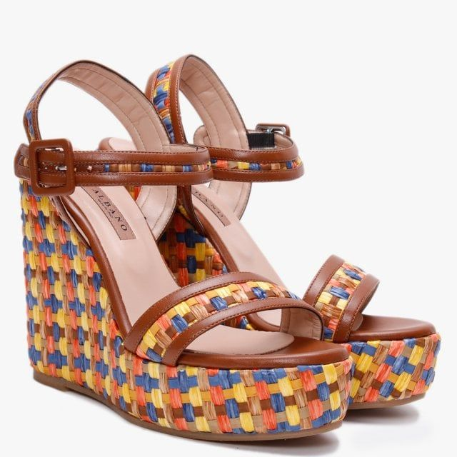 Albano Dover Multicoloured Woven Wedge Sandals