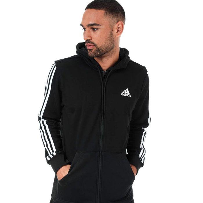 Men's adidas Must Haves 3-Stripes Zip Hoody in Black